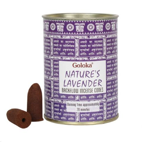 Nature's Lavender Backflow Incense Cones Goloka (Pack of 24)